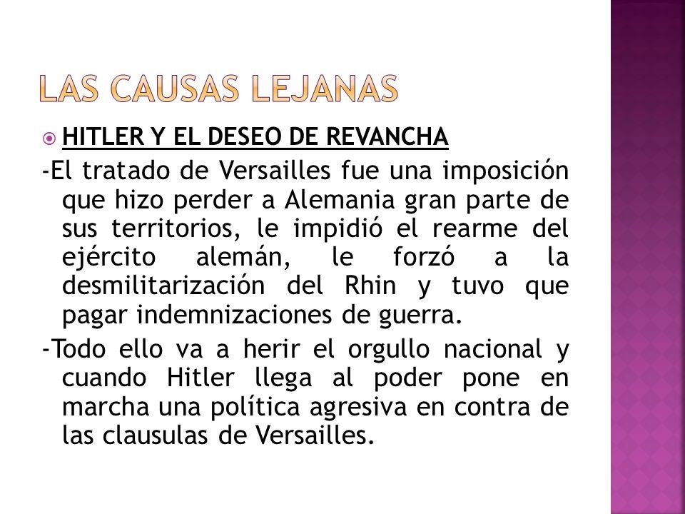 HITLER Y EL DESEO DE REVANCHA - El tratado de Versailles fue una imposición que hizo perder a Alemania gran parte de sus territorios, le impidió el re
