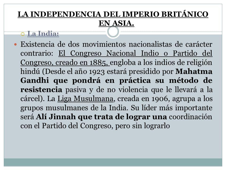 LA INDEPENDENCIA DEL IMPERIO BRITÁNICO EN ASIA. La India: Existencia de dos movimientos nacionalistas de carácter contrario: El Congreso Nacional Indi