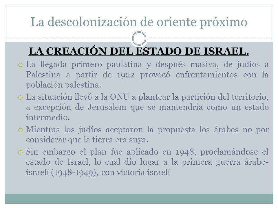 La descolonización de oriente próximo LA CREACIÓN DEL ESTADO DE ISRAEL. La llegada primero paulatina y después masiva, de judíos a Palestina a partir