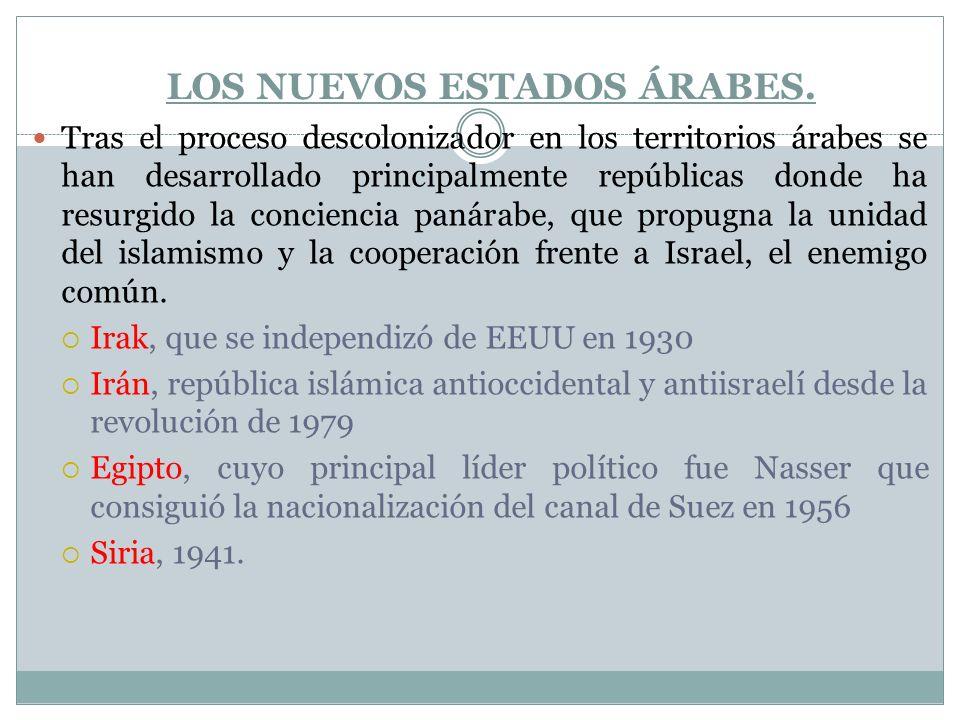 LOS NUEVOS ESTADOS ÁRABES. Tras el proceso descolonizador en los territorios árabes se han desarrollado principalmente repúblicas donde ha resurgido l