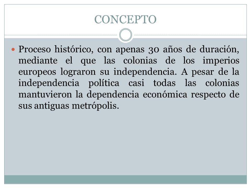 CONCEPTO Proceso histórico, con apenas 30 años de duración, mediante el que las colonias de los imperios europeos lograron su independencia. A pesar d