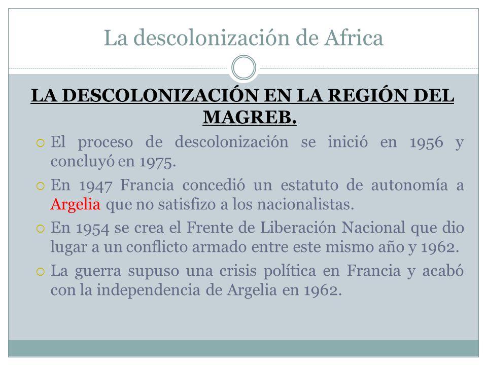 La descolonización de Africa LA DESCOLONIZACIÓN EN LA REGIÓN DEL MAGREB. El proceso de descolonización se inició en 1956 y concluyó en 1975. En 1947 F