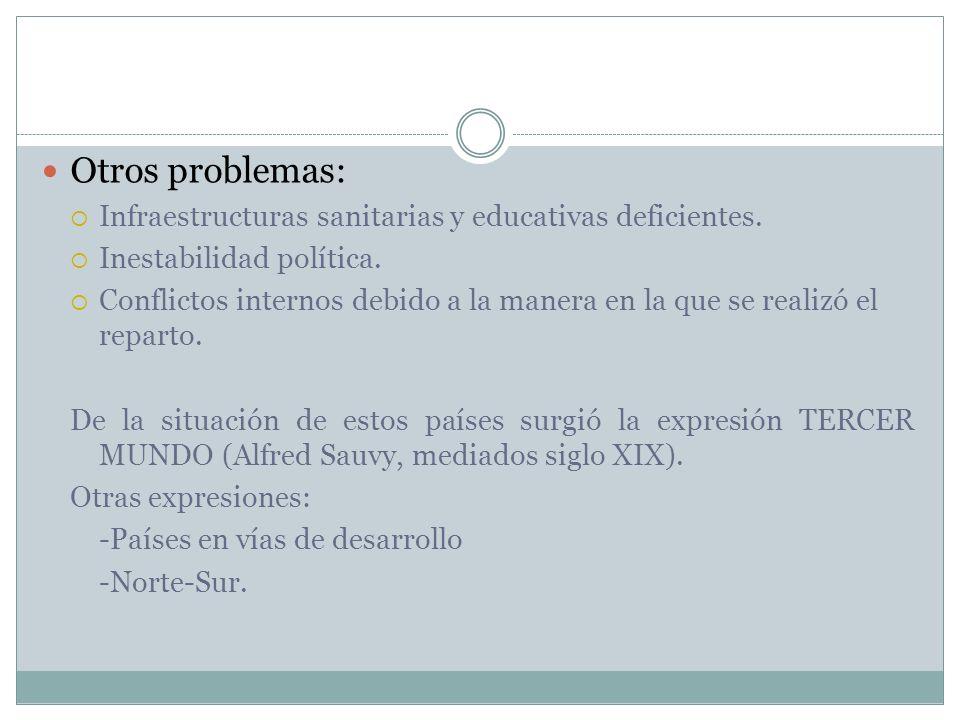 Otros problemas: Infraestructuras sanitarias y educativas deficientes. Inestabilidad política. Conflictos internos debido a la manera en la que se rea