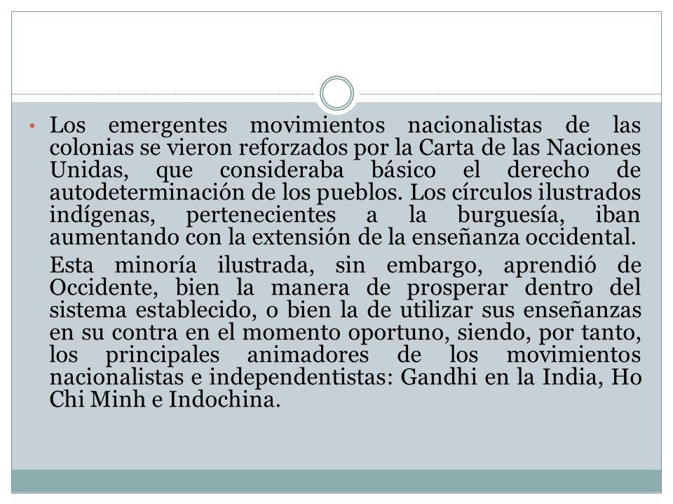 Los emergentes movimientos nacionalistas de las colonias se vieron reforzados por la Carta de las Naciones Unidas, que consideraba básico el derecho d