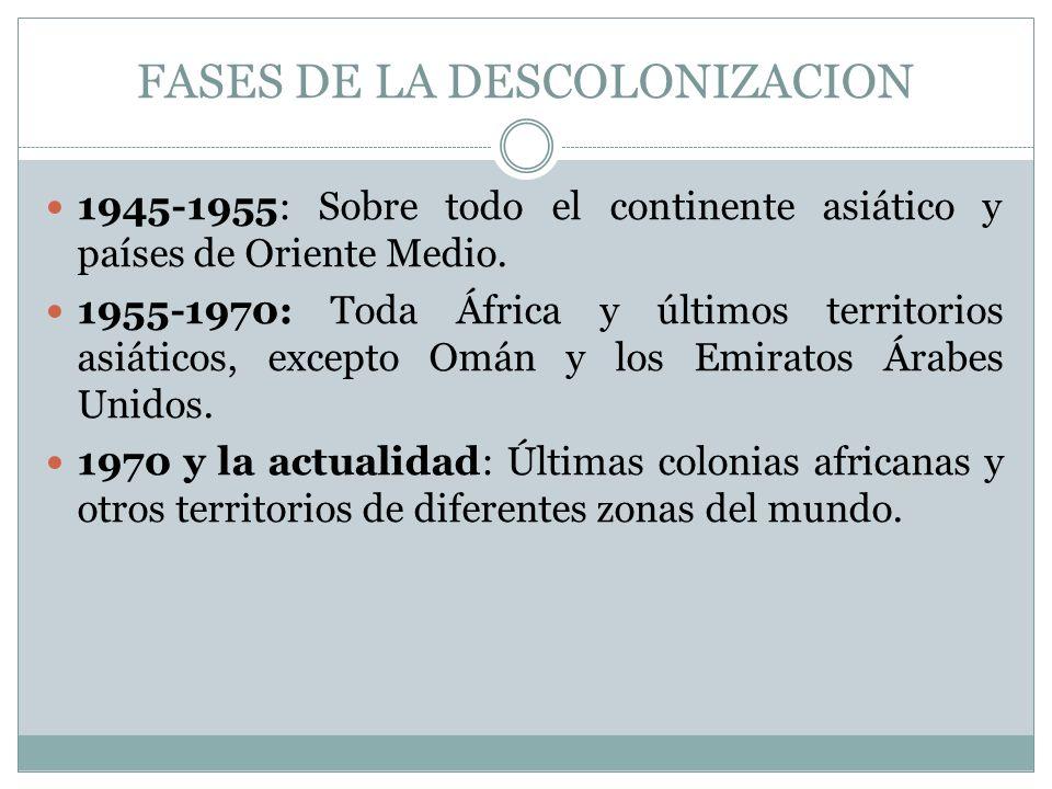 FASES DE LA DESCOLONIZACION 1945-1955: Sobre todo el continente asiático y países de Oriente Medio. 1955-1970: Toda África y últimos territorios asiát