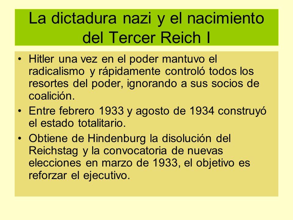 La dictadura nazi y el nacimiento del Tercer Reich I Hitler una vez en el poder mantuvo el radicalismo y rápidamente controló todos los resortes del p