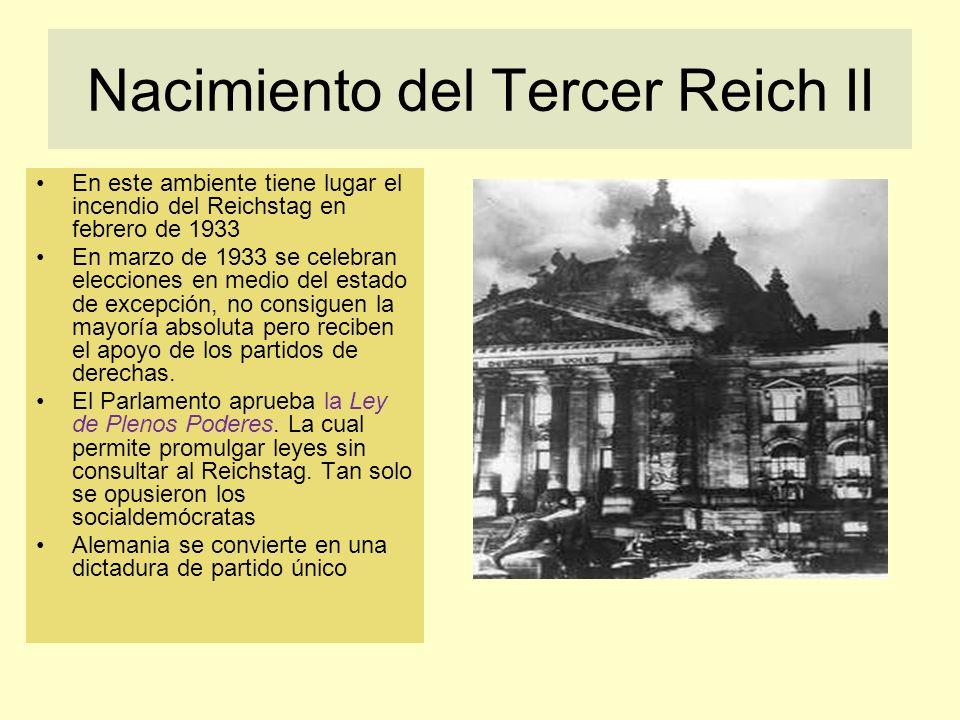 Nacimiento del Tercer Reich II En este ambiente tiene lugar el incendio del Reichstag en febrero de 1933 En marzo de 1933 se celebran elecciones en me