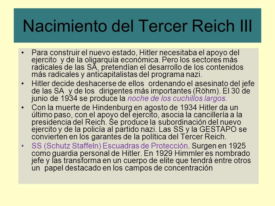 Nacimiento del Tercer Reich III Para construir el nuevo estado, Hitler necesitaba el apoyo del ejercito y de la oligarquía económica. Pero los sectore