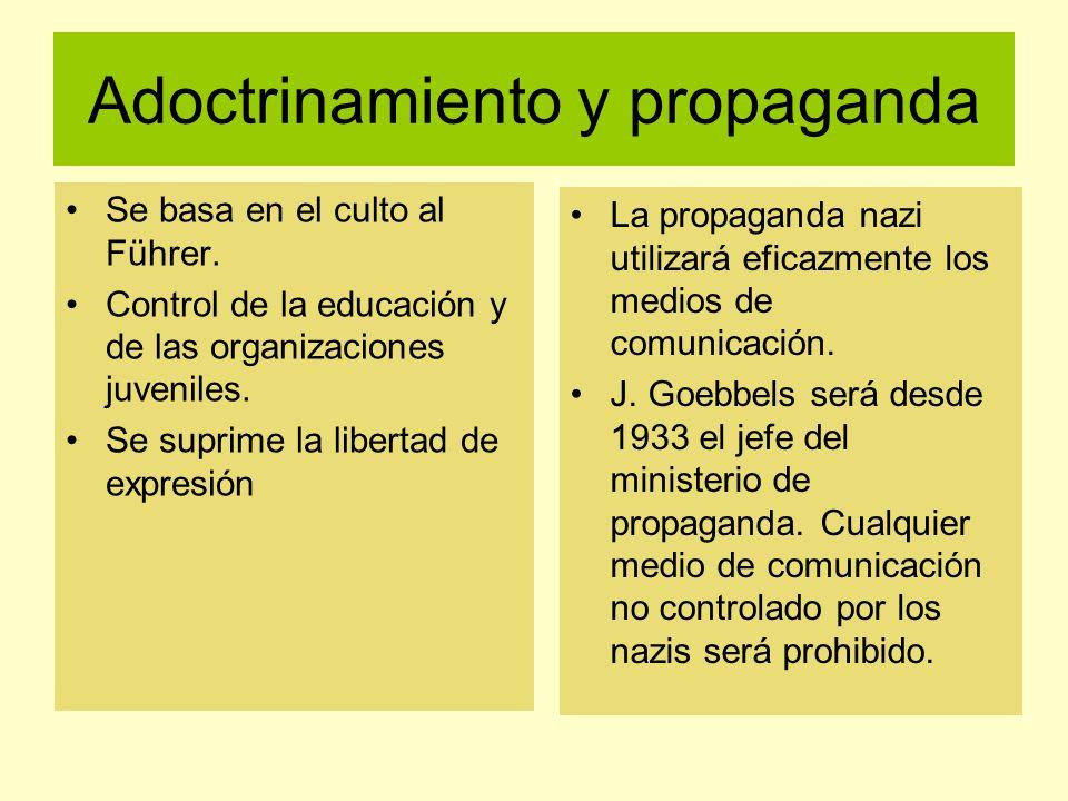 Adoctrinamiento y propaganda Se basa en el culto al Führer. Control de la educación y de las organizaciones juveniles. Se suprime la libertad de expre