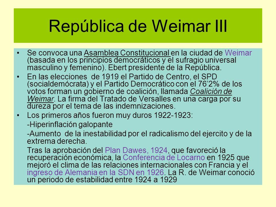 República de Weimar III Se convoca una Asamblea Constitucional en la ciudad de Weimar (basada en los principios democráticos y el sufragio universal m