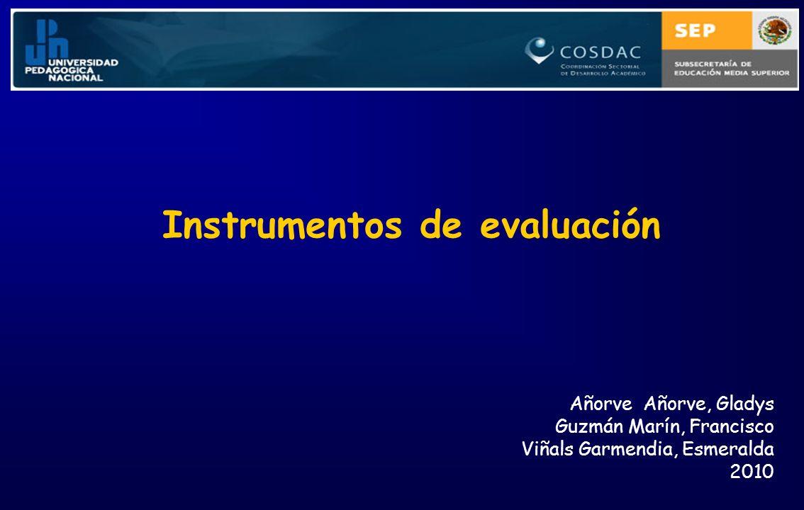 Instrumentos de evaluación Añorve Añorve, Gladys Guzmán Marín, Francisco Viñals Garmendia, Esmeralda 2010