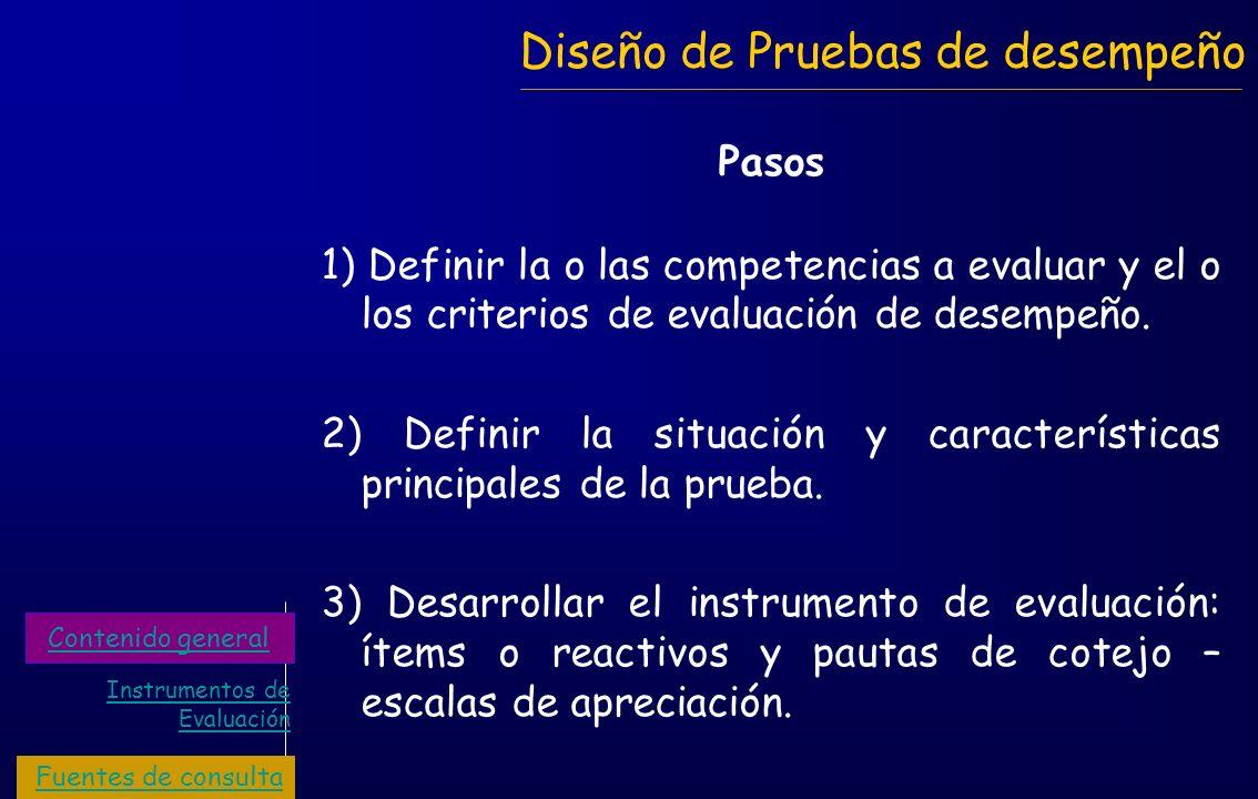 Diseño de Pruebas de desempeño Pasos 1) Definir la o las competencias a evaluar y el o los criterios de evaluación de desempeño. 2) Definir la situaci