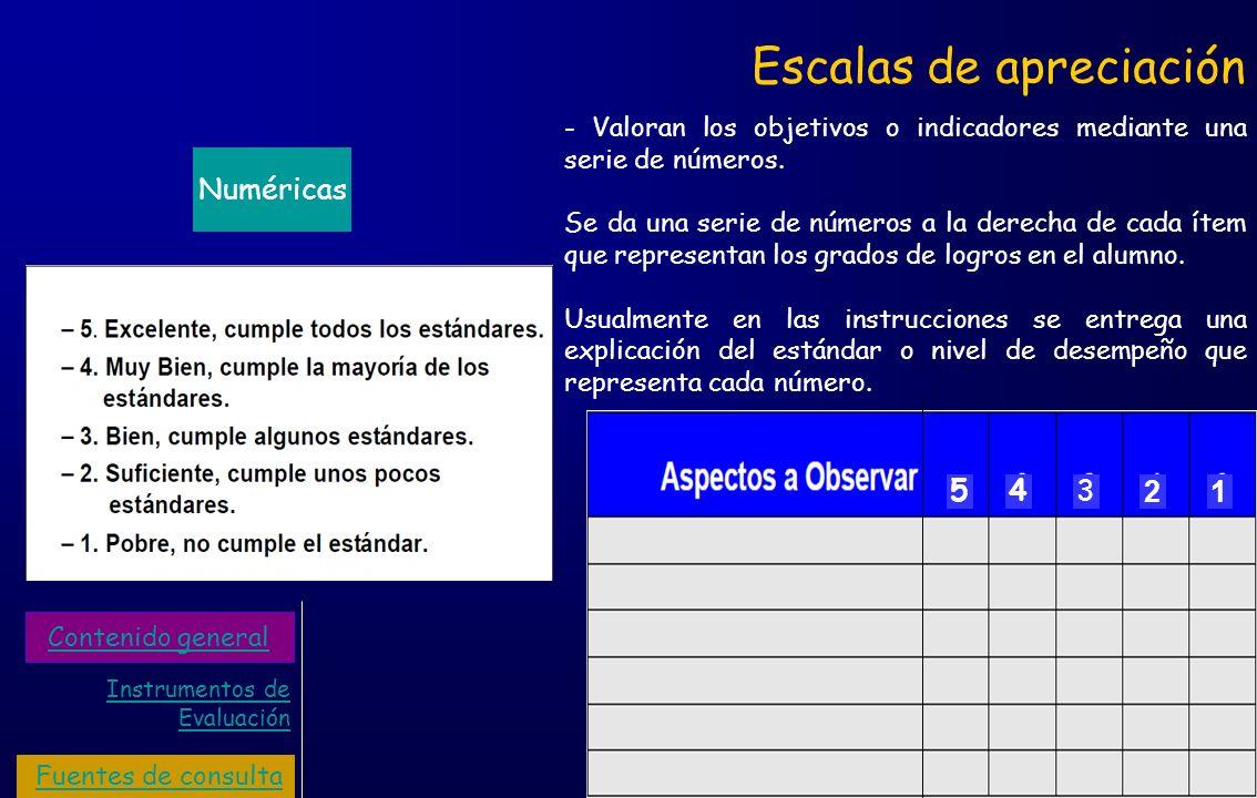 Escalas de apreciación Numéricas - Valoran los objetivos o indicadores mediante una serie de números. Se da una serie de números a la derecha de cada