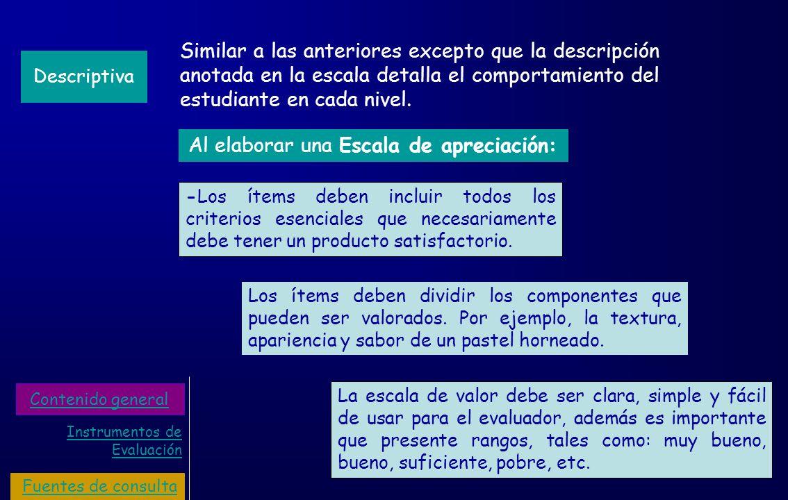 Similar a las anteriores excepto que la descripción anotada en la escala detalla el comportamiento del estudiante en cada nivel. Descriptiva La escala