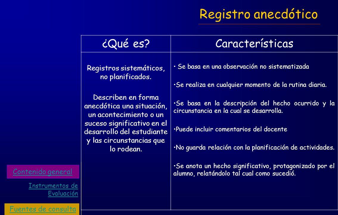 Registro anecdótico ¿Qué es?Características Registros sistemáticos, no planificados. Describen en forma anecdótica una situación, un acontecimiento o