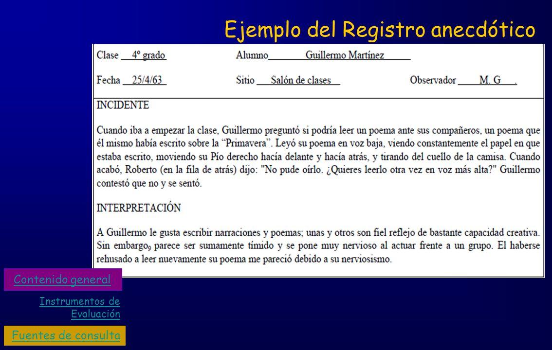 Ejemplo del Registro anecdótico Instrumentos de Evaluación Fuentes de consulta Contenido general