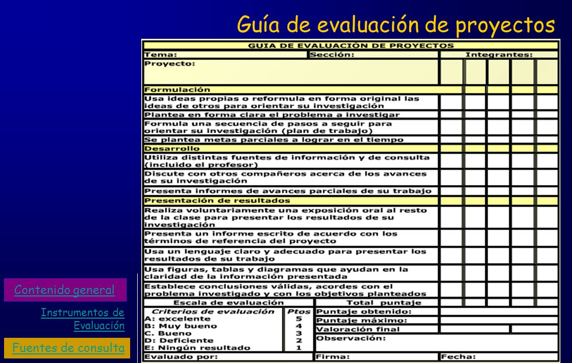 Guía de evaluación de proyectos Instrumentos de Evaluación Fuentes de consulta Contenido general