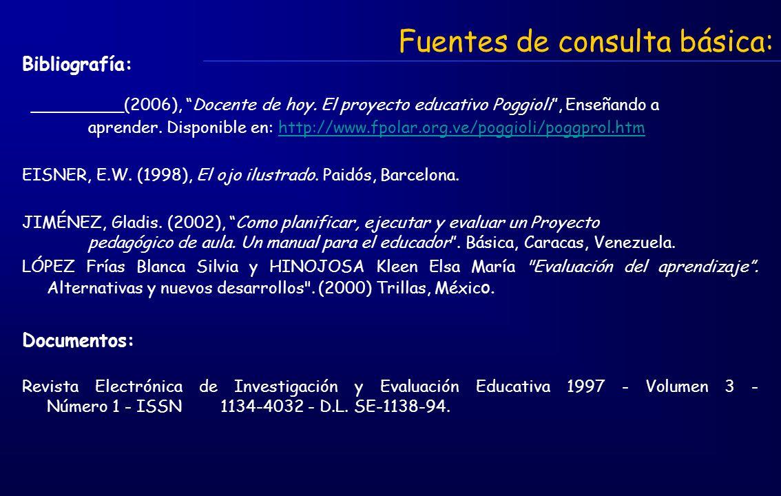 Fuentes de consulta básica: Bibliografía: _________(2006), Docente de hoy. El proyecto educativo Poggioli, Enseñando a aprender. Disponible en: http:/