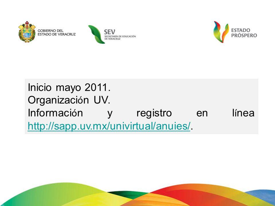 Inicio mayo 2011. Organizaci ó n UV. Informaci ó n y registro en l í nea http://sapp.uv.mx/univirtual/anuies/. http://sapp.uv.mx/univirtual/anuies/