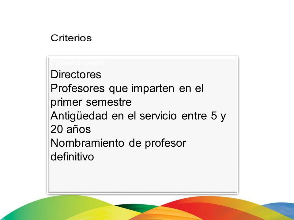 Preferentemente: Directores Profesores que imparten en el primer semestre Antigüedad en el servicio entre 5 y 20 años Nombramiento de profesor definit