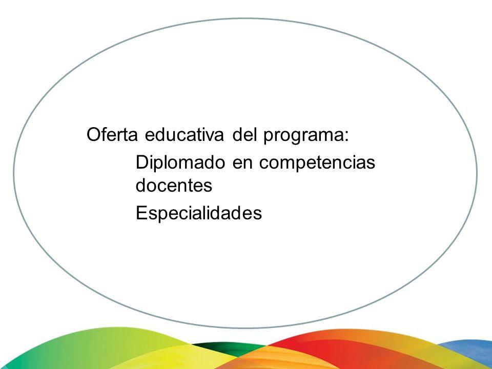 Especialidades en: Competencias para la educación superior Educación centrada en el aprendizaje con las nuevas tecnologías de información Aprendizaje y práctica docente en contextos multiculturales.