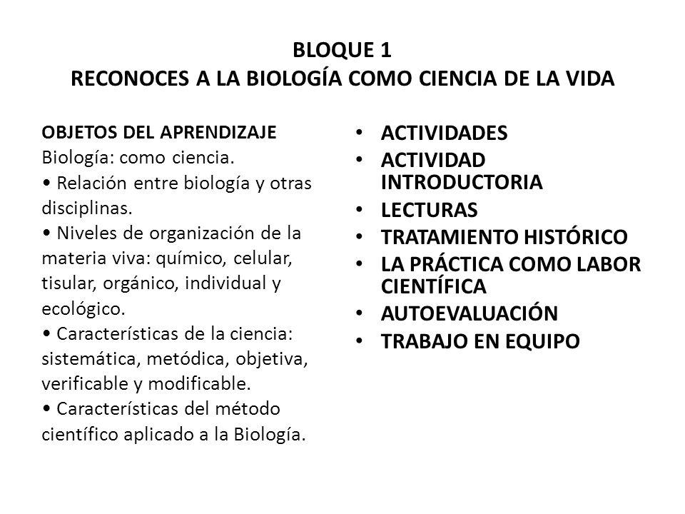 BLOQUE 1 RECONOCES A LA BIOLOGÍA COMO CIENCIA DE LA VIDA OBJETOS DEL APRENDIZAJE Biología: como ciencia. Relación entre biología y otras disciplinas.