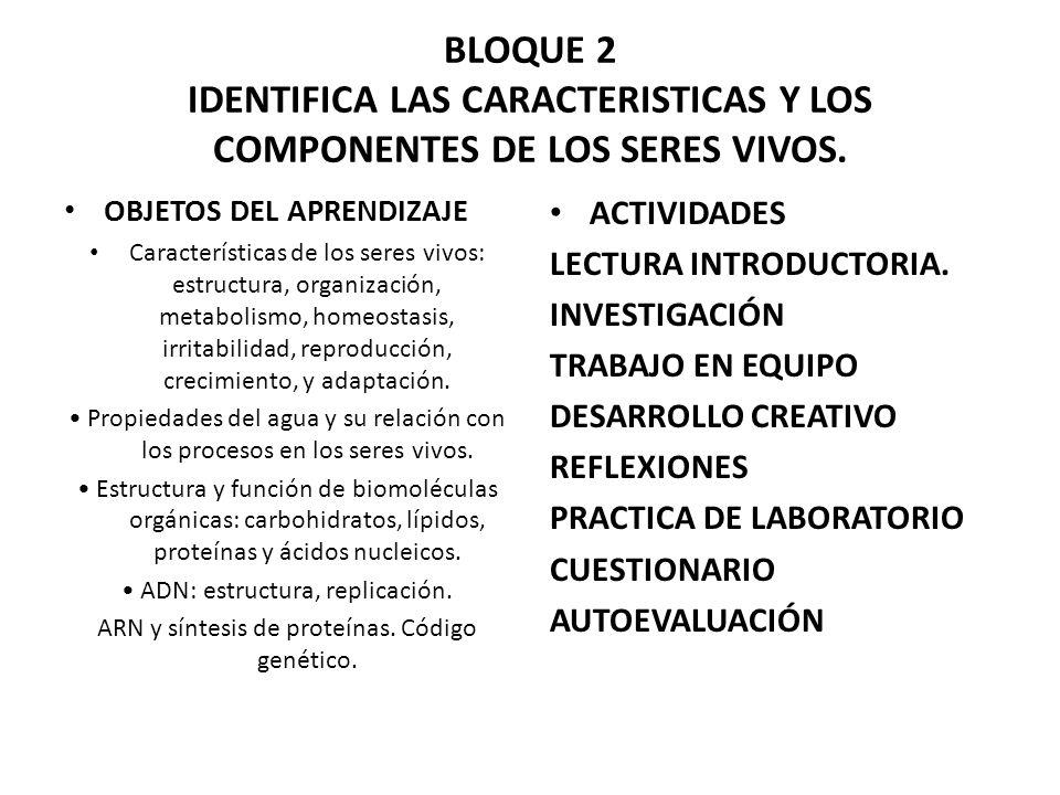 BLOQUE 2 IDENTIFICA LAS CARACTERISTICAS Y LOS COMPONENTES DE LOS SERES VIVOS. OBJETOS DEL APRENDIZAJE Características de los seres vivos: estructura,