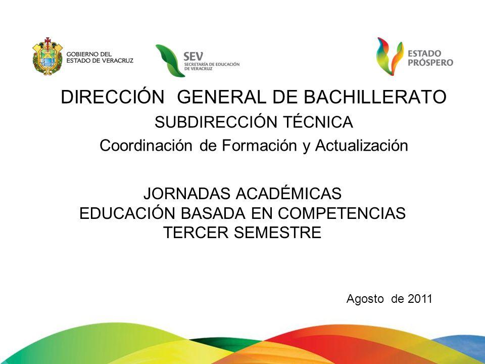 JORNADAS ACADÉMICAS EDUCACIÓN BASADA EN COMPETENCIAS TERCER SEMESTRE DIRECCIÓN GENERAL DE BACHILLERATO SUBDIRECCIÓN TÉCNICA Coordinación de Formación