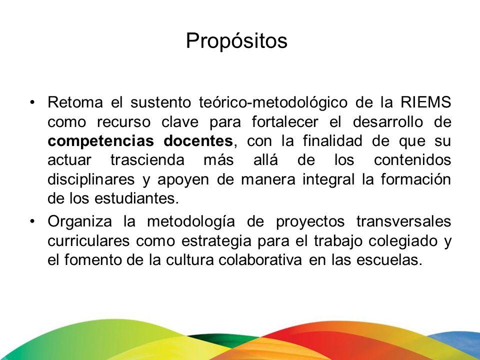 Propósitos Retoma el sustento teórico-metodológico de la RIEMS como recurso clave para fortalecer el desarrollo de competencias docentes, con la final