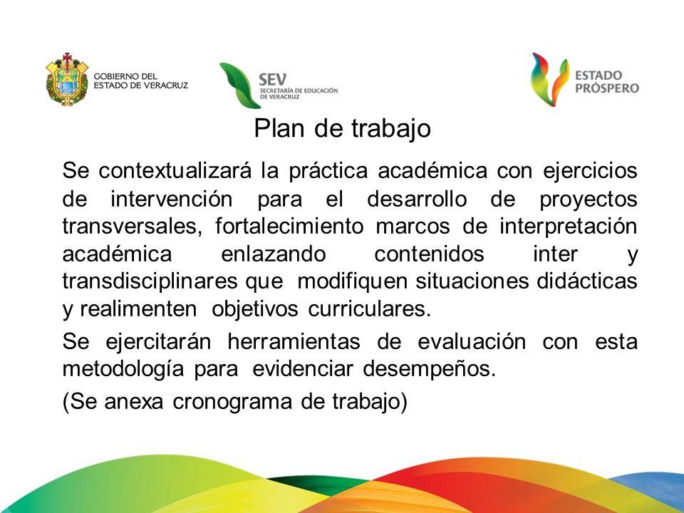 Plan de trabajo Se contextualizará la práctica académica con ejercicios de intervención para el desarrollo de proyectos transversales, fortalecimiento