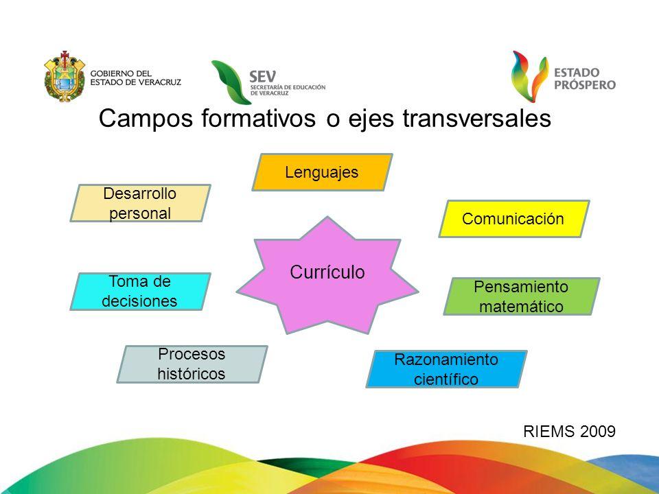Campos formativos o ejes transversales RIEMS 2009 Currículo Comunicación Pensamiento matemático Desarrollo personal Procesos históricos Toma de decisi