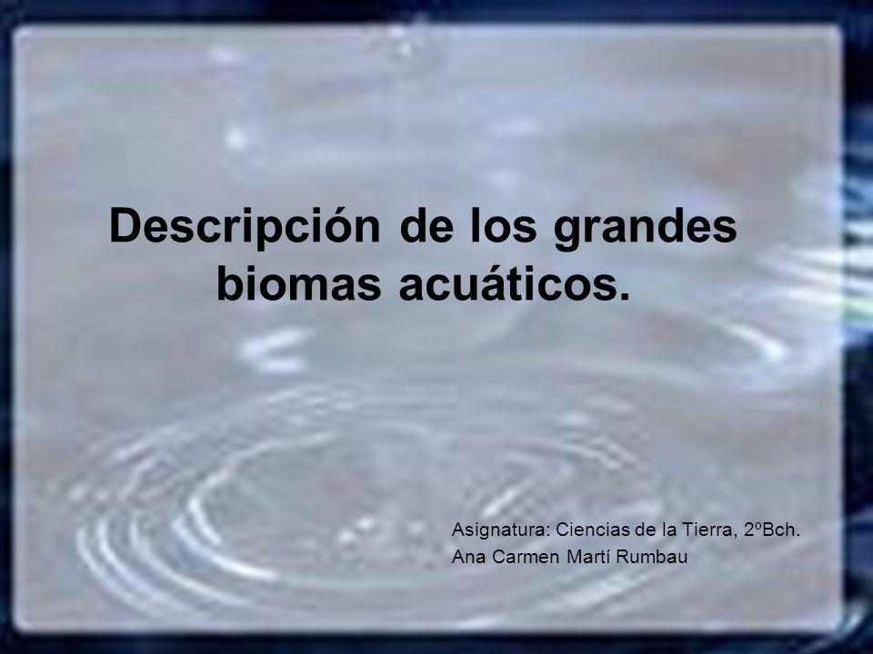 Descripción de los grandes biomas acuáticos. Asignatura: Ciencias de la Tierra, 2ºBch. Ana Carmen Martí Rumbau