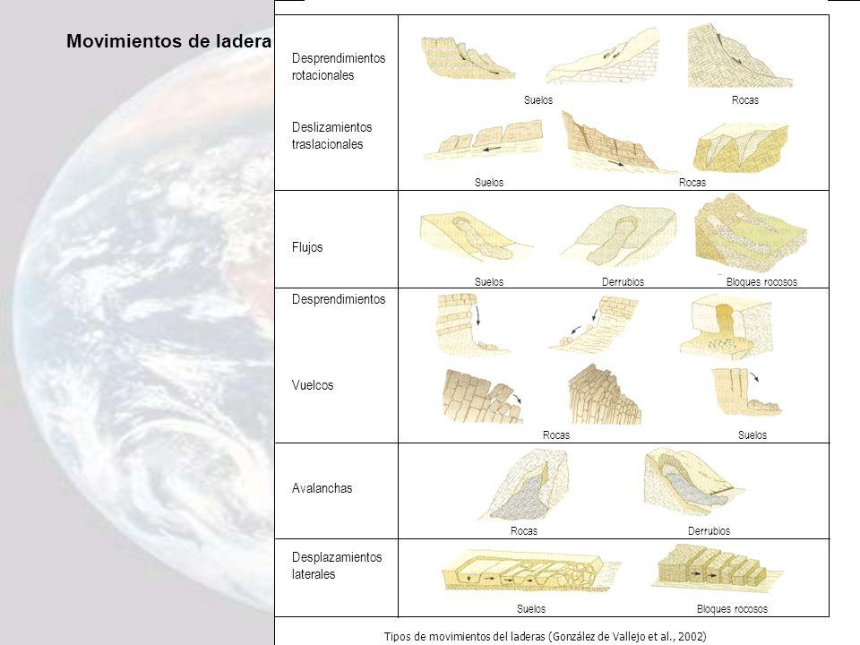 Movimientos de ladera Desprendimientos rotacionales Deslizamientos traslacionales Flujos Desprendimientos Vuelcos Avalanchas Desplazamientos laterales