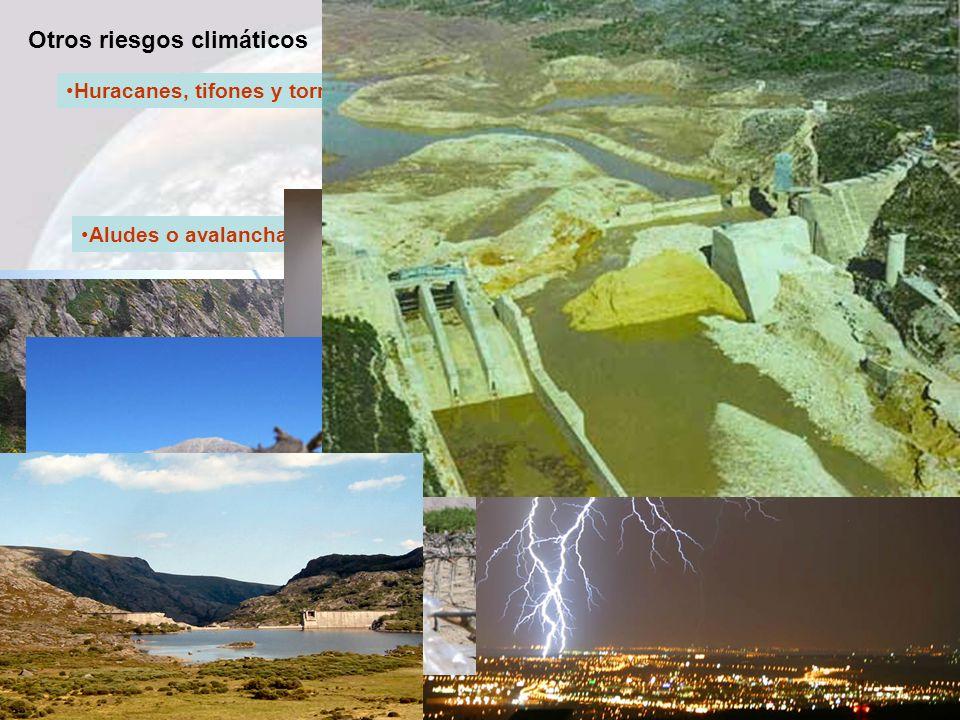Otros riesgos climáticos Huracanes, tifones y tornados Aludes o avalanchas Rayos Tormentas, heladas y sequías