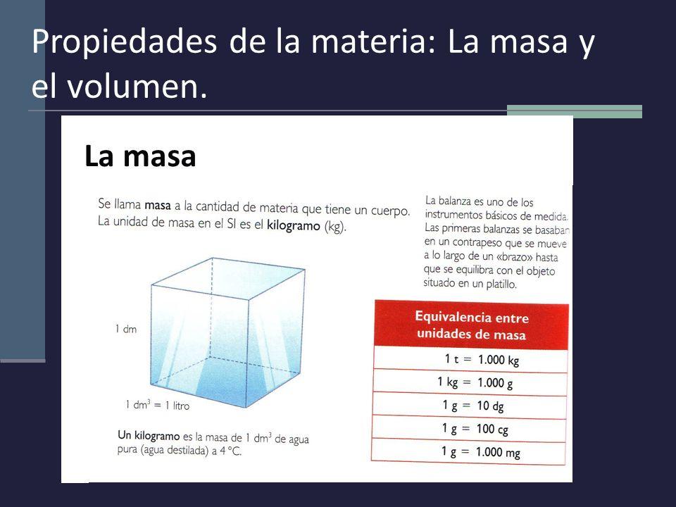 Propiedades de la materia: La masa y el volumen. La masa