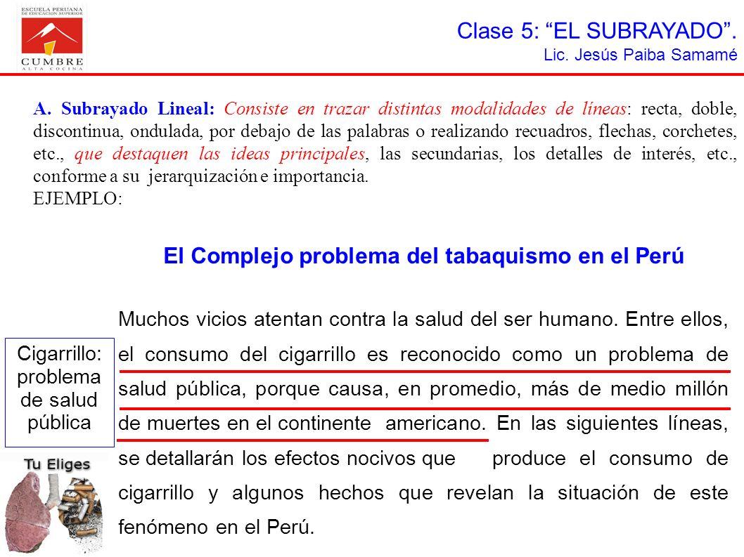 Clase 5: EL SUBRAYADO. Lic. Jesús Paiba Samamé A. Subrayado Lineal: Consiste en trazar distintas modalidades de líneas: recta, doble, discontinua, ond