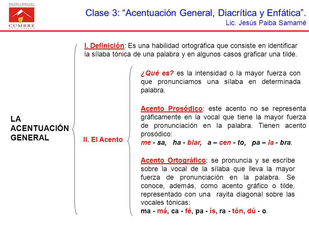 Clase 3: Acentuación General, Diacrítica y Enfática.