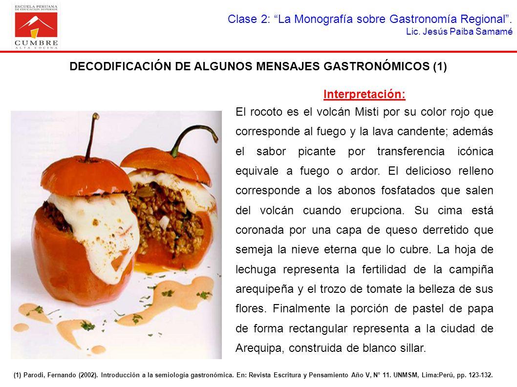Clase 2: La Monografía sobre Gastronomía Regional. Lic. Jesús Paiba Samamé DECODIFICACIÓN DE ALGUNOS MENSAJES GASTRONÓMICOS (1) (1) Parodi, Fernando (