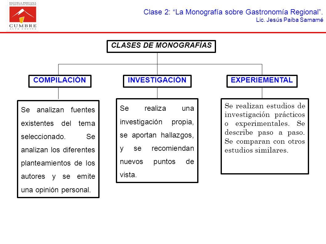 Clase 2: La Monografía sobre Gastronomía Regional. Lic. Jesús Paiba Samamé CLASES DE MONOGRAFÍAS COMPILACIÓNEXPERIEMENTALINVESTIGACIÓN Se analizan fue