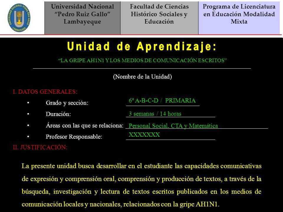 Universidad Nacional Pedro Ruiz Gallo Lambayeque Facultad de Ciencias Histórico Sociales y Educación Programa de Licenciatura en Educación Modalidad M