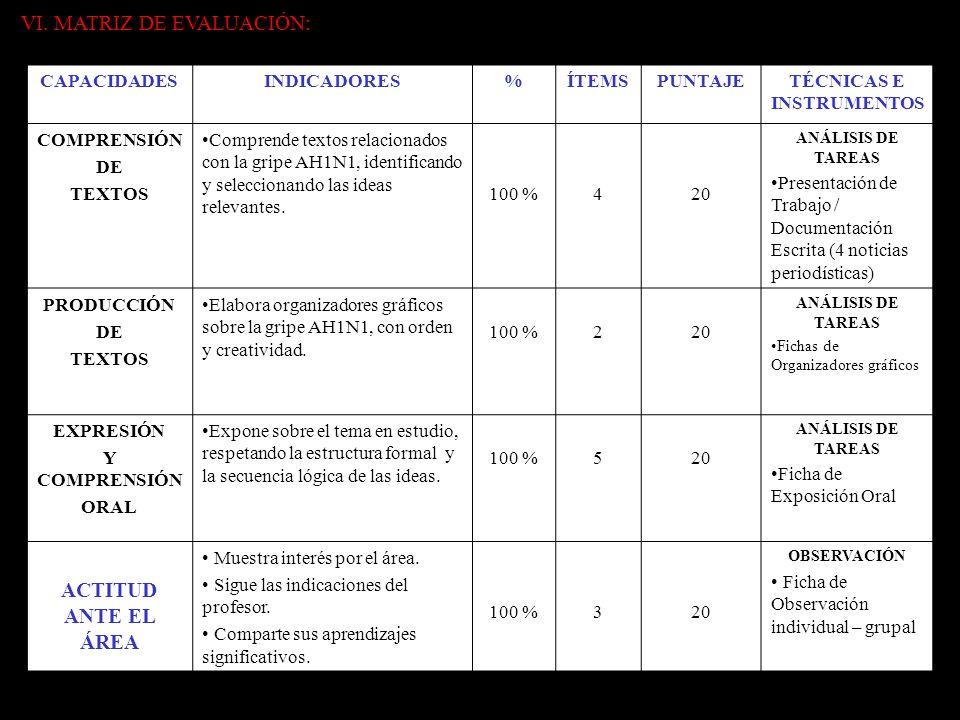 VI. MATRIZ DE EVALUACIÓN: CAPACIDADESINDICADORES%ÍTEMSPUNTAJETÉCNICAS E INSTRUMENTOS COMPRENSIÓN DE TEXTOS Comprende textos relacionados con la gripe