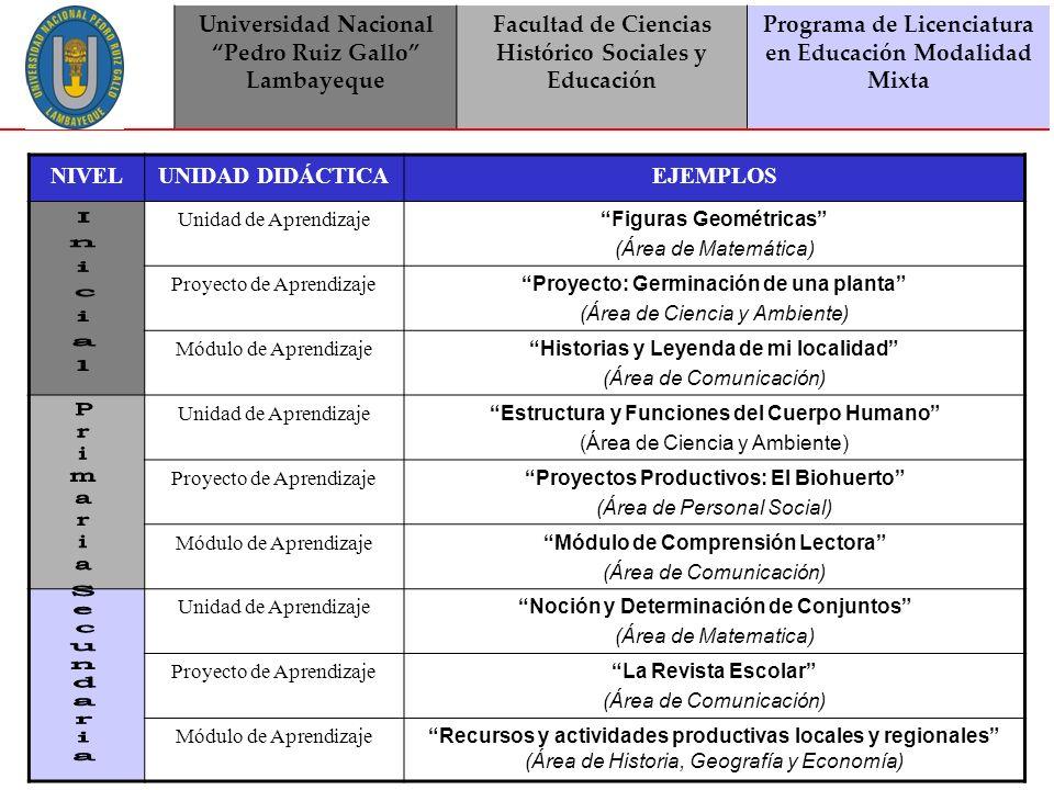 Universidad Nacional Pedro Ruiz Gallo Lambayeque Facultad de Ciencias Histórico Sociales y Educación Programa de Licenciatura en Educación Modalidad Mixta ¿Qué documentos debemos tomar en cuenta para elaborar una UNIDAD DIDÁCTICA.