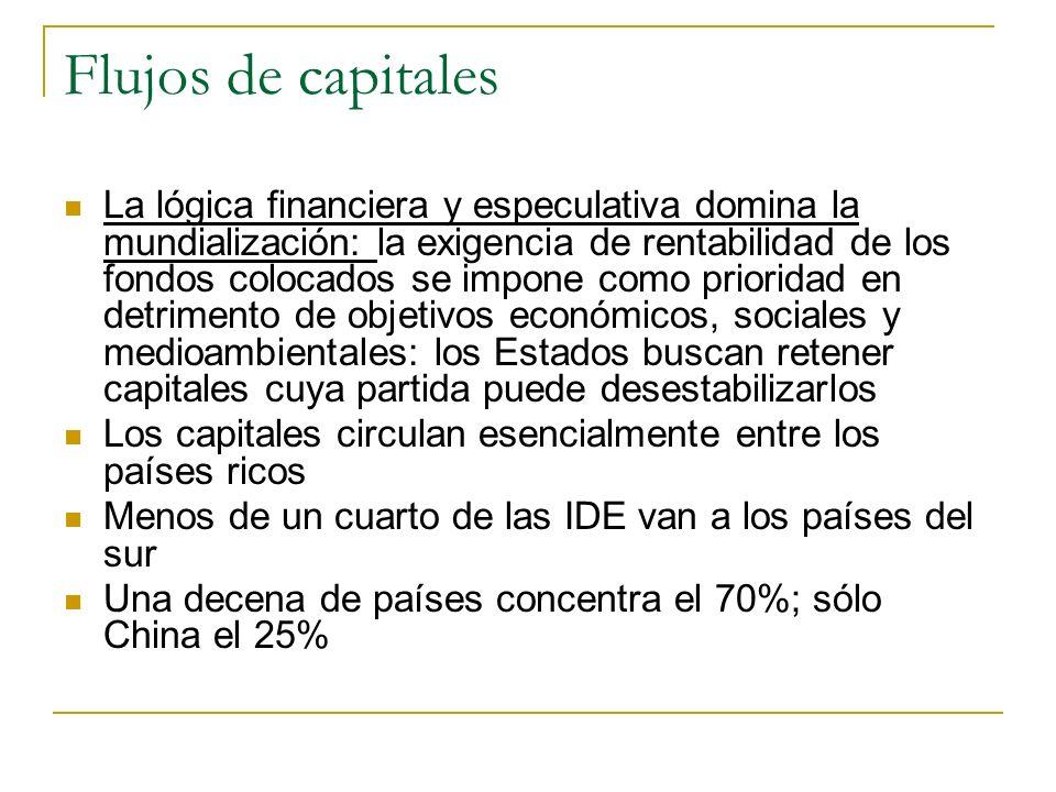 Flujos de capitales La lógica financiera y especulativa domina la mundialización: la exigencia de rentabilidad de los fondos colocados se impone como