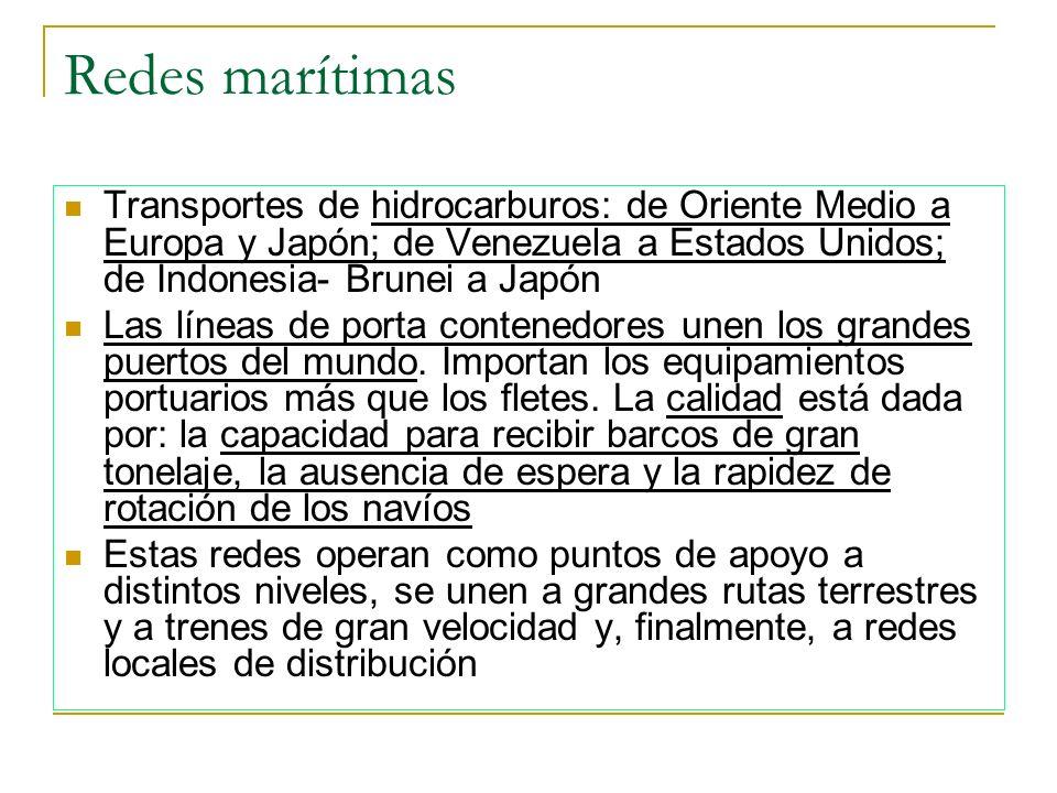 Redes marítimas Transportes de hidrocarburos: de Oriente Medio a Europa y Japón; de Venezuela a Estados Unidos; de Indonesia- Brunei a Japón Las línea