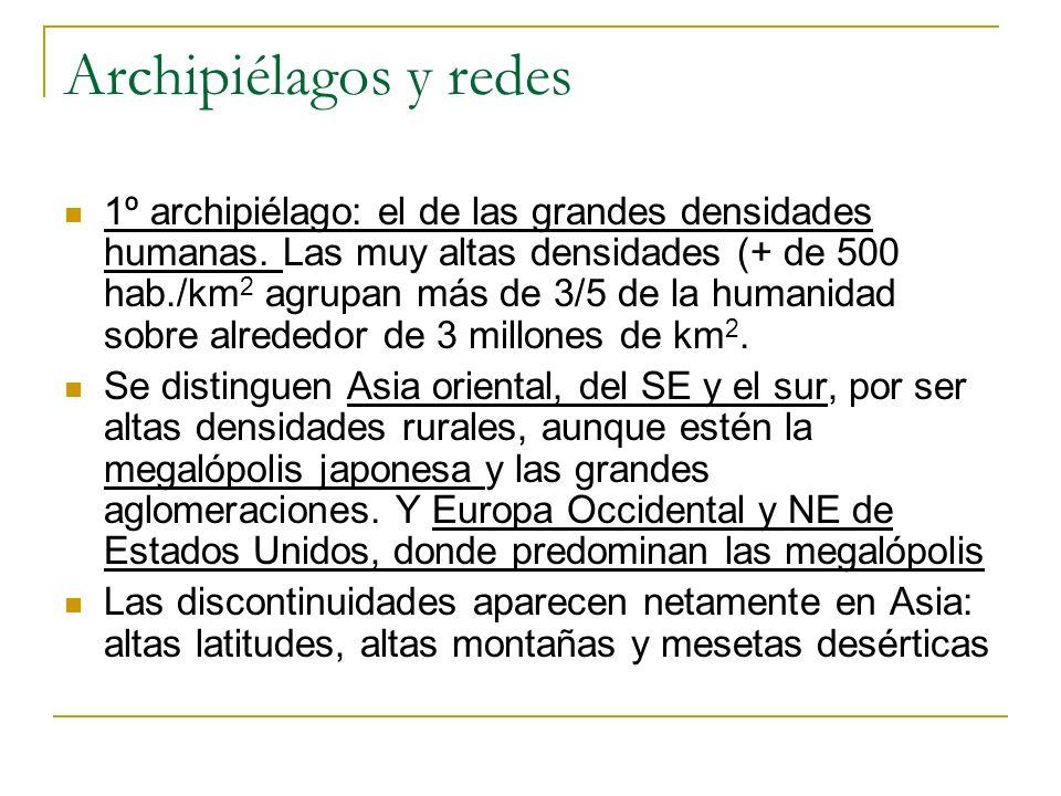 Archipiélagos y redes 1º archipiélago: el de las grandes densidades humanas. Las muy altas densidades (+ de 500 hab./km 2 agrupan más de 3/5 de la hum