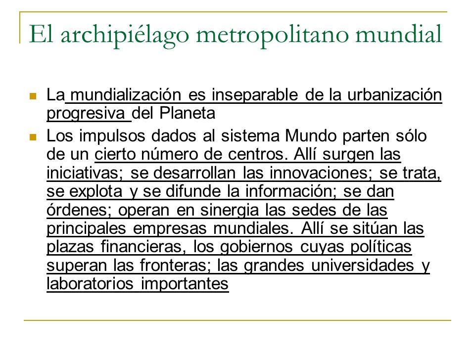 El archipiélago metropolitano mundial La mundialización es inseparable de la urbanización progresiva del Planeta Los impulsos dados al sistema Mundo p