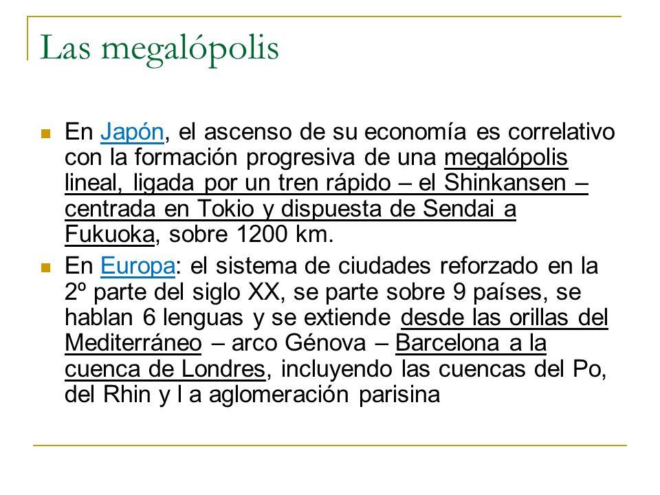 Las megalópolis En Japón, el ascenso de su economía es correlativo con la formación progresiva de una megalópolis lineal, ligada por un tren rápido –