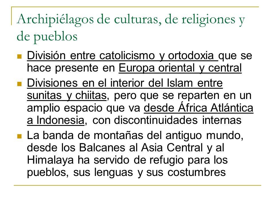 Archipiélagos de culturas, de religiones y de pueblos División entre catolicismo y ortodoxia que se hace presente en Europa oriental y central Divisio