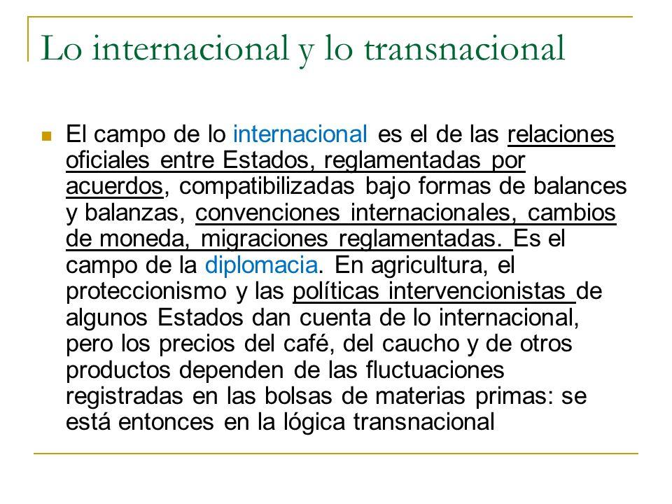 Lo internacional y lo transnacional El campo de lo internacional es el de las relaciones oficiales entre Estados, reglamentadas por acuerdos, compatib
