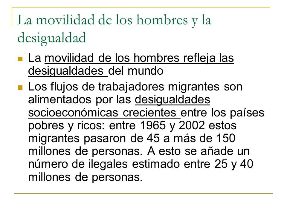 La movilidad de los hombres y la desigualdad La movilidad de los hombres refleja las desigualdades del mundo Los flujos de trabajadores migrantes son